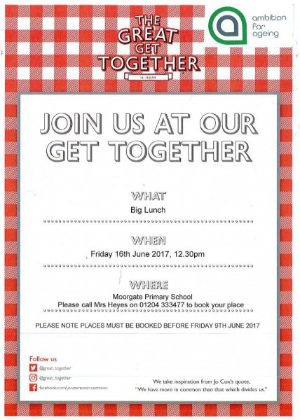 The Great Get Together Lunch Invite For Local Residents Aged 50
